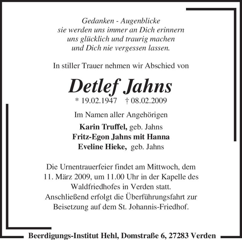 Traueranzeige für Detlef Jahns vom 10.03.2009 aus KREISZEITUNG SYKE