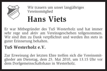 Traueranzeige für Hans Viets vom 22.05.2010 aus KREISZEITUNG SYKE