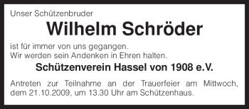 Traueranzeige von Wilhelm Schröder von KREISZEITUNG SYKE
