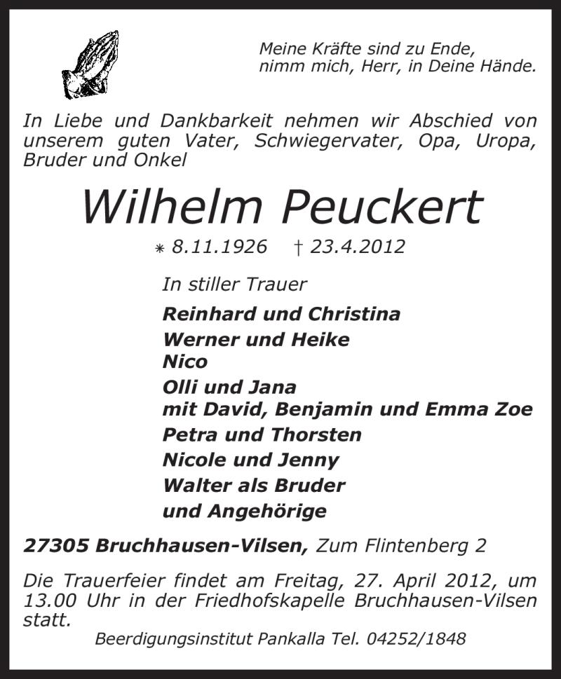 Traueranzeige für Wilhelm Peuckert vom 25.04.2012 aus KREISZEITUNG SYKE