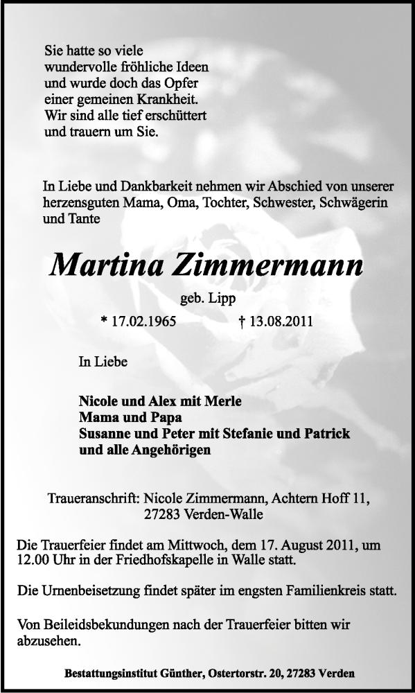 Traueranzeige für Martina Zimmermann vom 15.08.2011 aus KREISZEITUNG SYKE