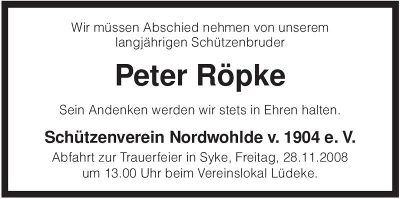 Anzeige von  Peter Röpke