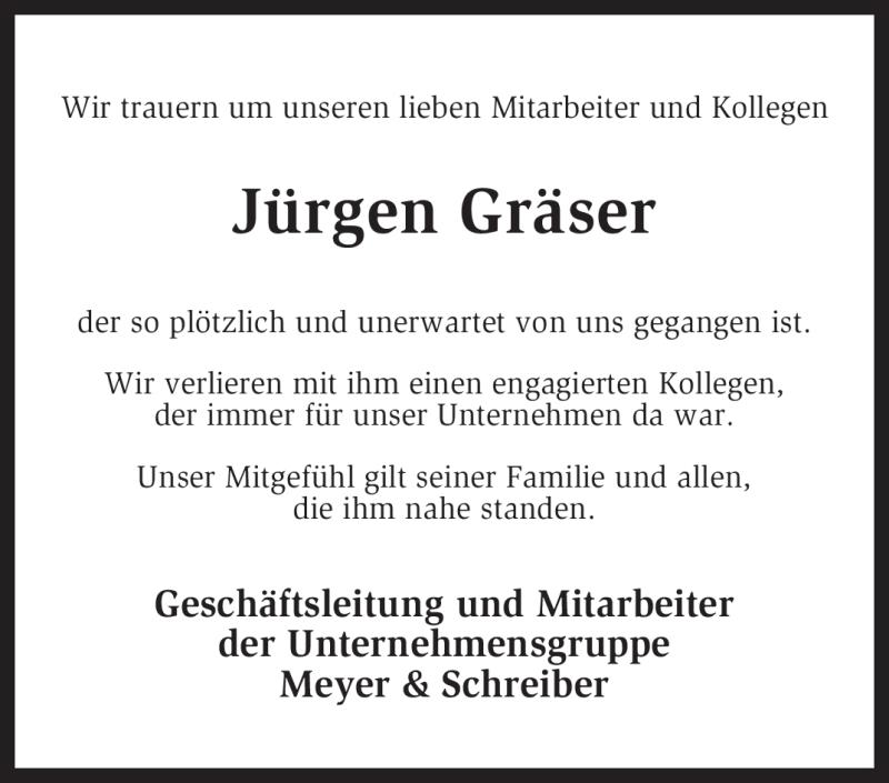 Anzeige von  Jürgen Gräser