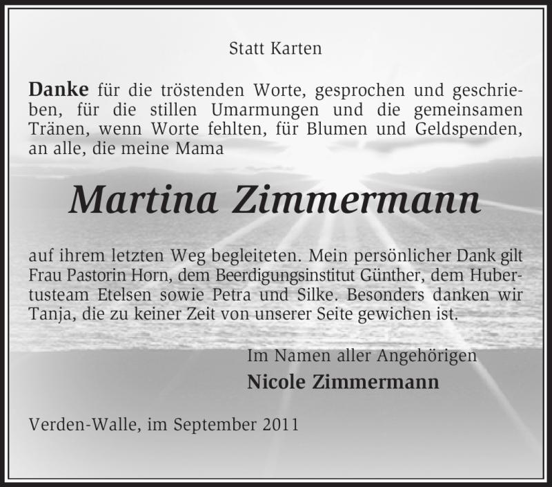 Traueranzeige für Martina Zimmermann vom 24.09.2011 aus KREISZEITUNG SYKE