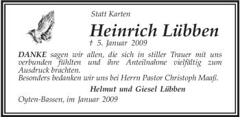 Traueranzeige für Heinrich Lübben vom 31.01.2009 aus KREISZEITUNG SYKE