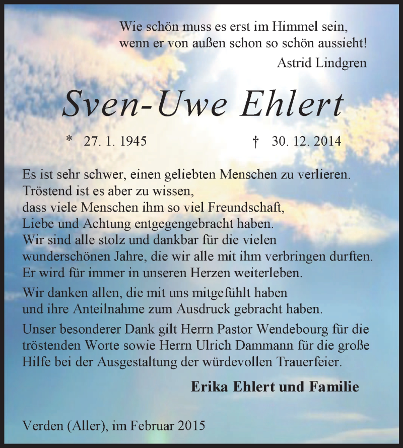 Anzeige von  Sven-Uwe Ehlert