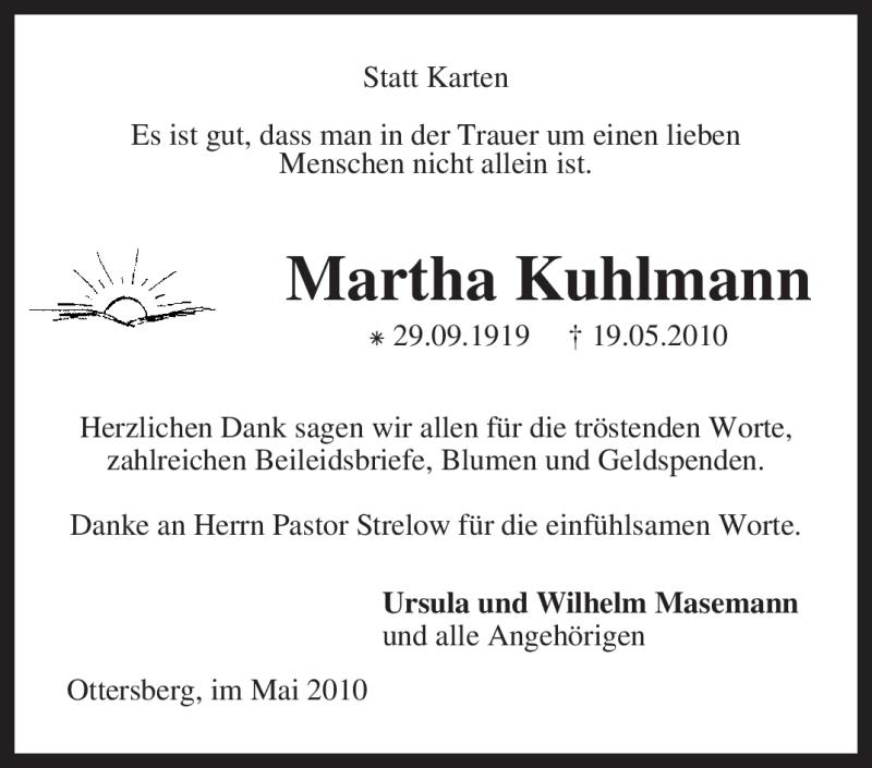 Traueranzeige für Martha Kuhlmann vom 12.06.2010 aus KREISZEITUNG SYKE