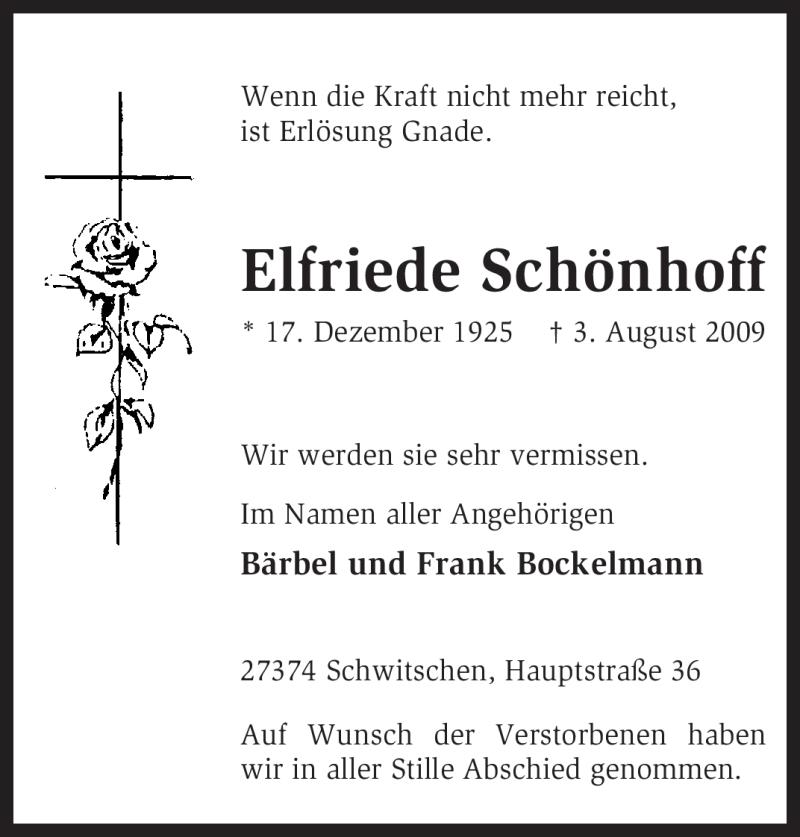 Traueranzeige für Elfriede Schönhoff vom 19.08.2009 aus KREISZEITUNG SYKE