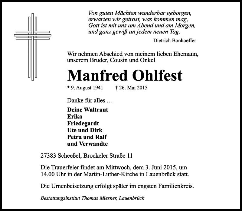 Anzeige von  Manfred Ohlfest