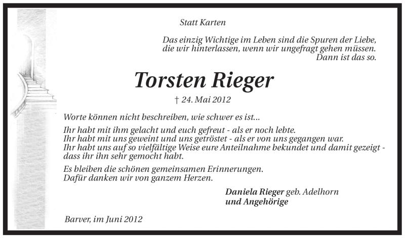 Anzeige von  Torsten Rieger