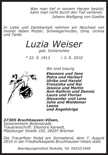 Traueranzeige von Luzia Weiser von KREISZEITUNG SYKE