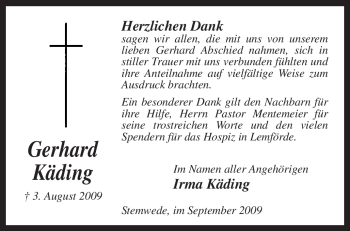 Traueranzeige von Gerhard Käding von KREISZEITUNG SYKE