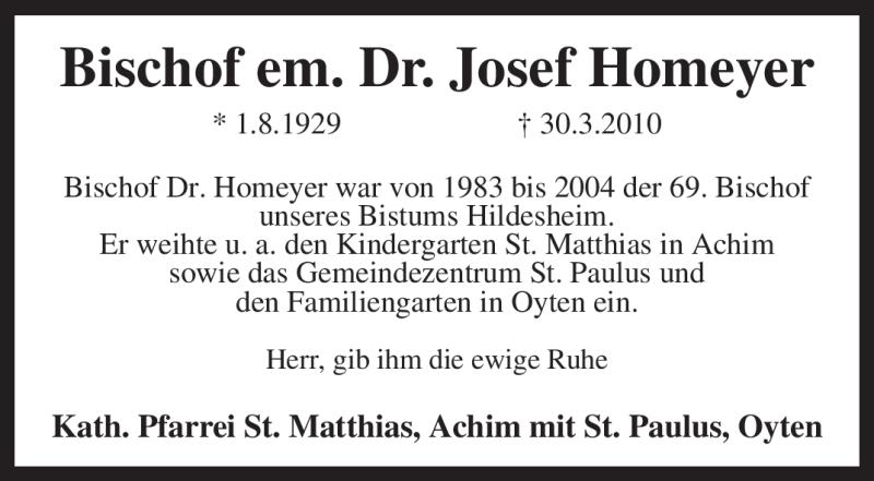 Traueranzeige für Josef Homeyer vom 31.03.2010 aus KREISZEITUNG SYKE