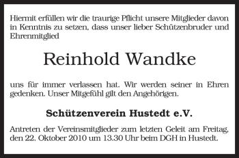 Traueranzeige von Reinhold Wandke von KREISZEITUNG SYKE