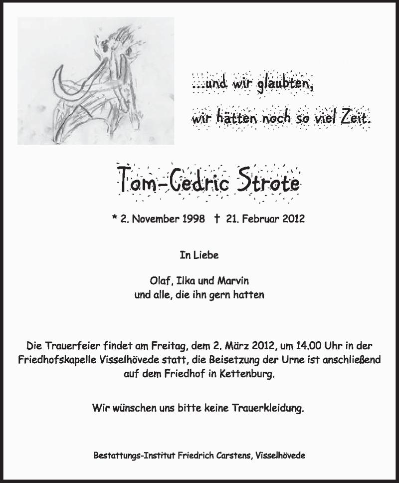 Anzeige von  Tom-Cedric Strote