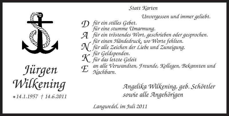 Traueranzeige für Jürgen Wilkening vom 09.07.2011 aus KREISZEITUNG SYKE