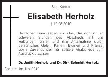 Traueranzeige für Elisabeth Herholz vom 26.06.2010 aus KREISZEITUNG SYKE