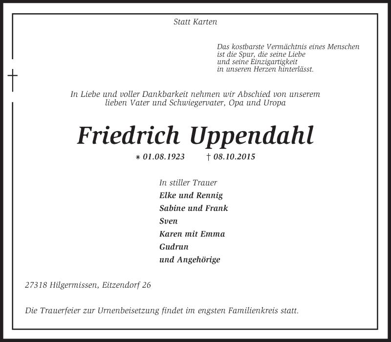 Anzeige von  Friedrich Uppendahl
