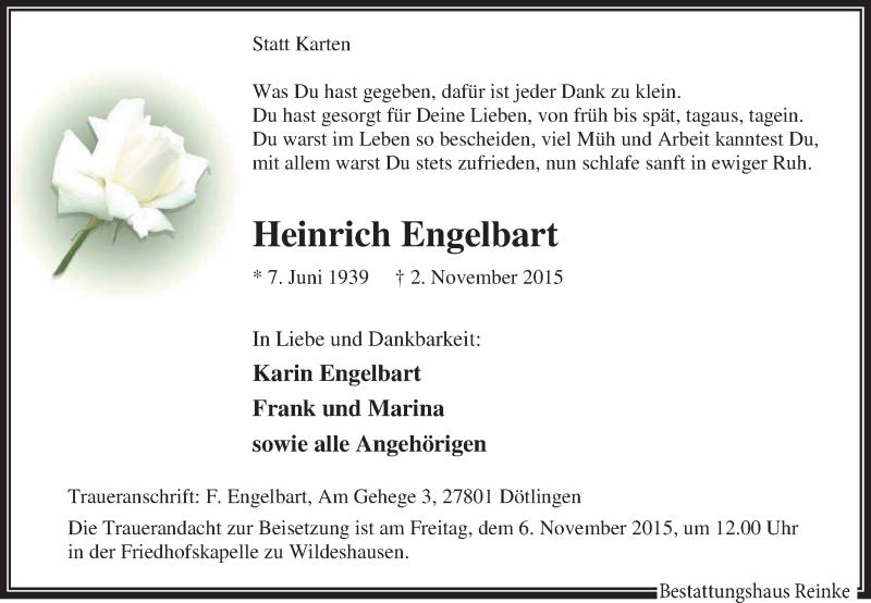 Anzeige von  Heinrich Engelbart
