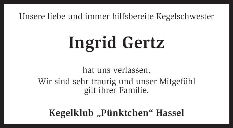 Anzeige von  Ingrid Gertz
