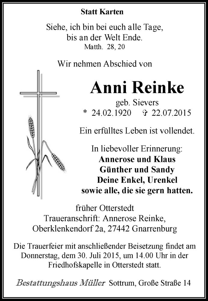 Traueranzeige für Anni Reinke vom 25.07.2015 aus KRZ