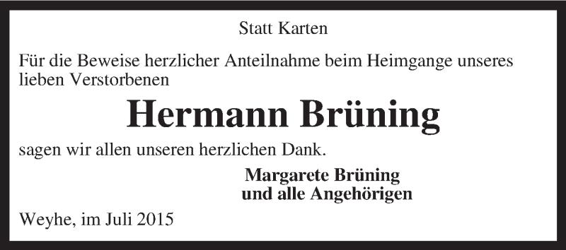 Traueranzeige für Hermann Brüning vom 18.07.2015 aus KRZ