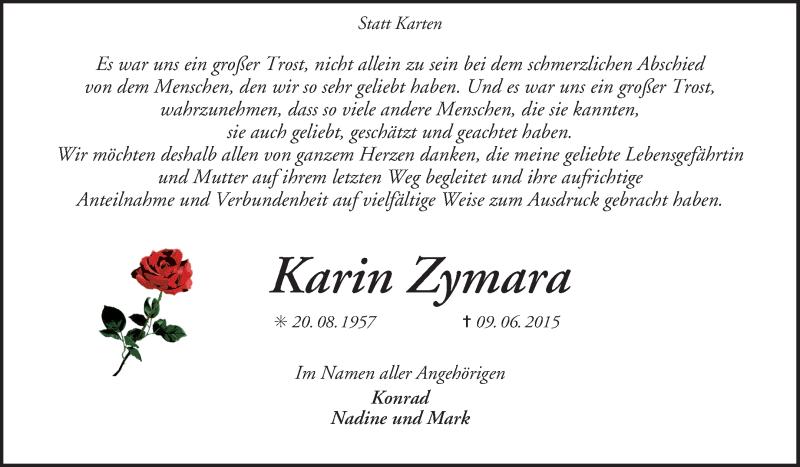 Traueranzeige für Karin Zymara vom 18.07.2015 aus KRZ
