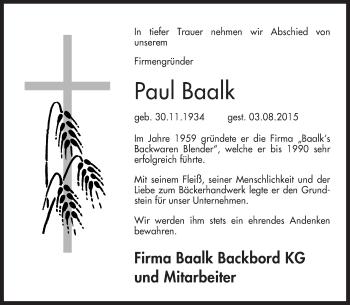 Traueranzeige von Paul Baalk von KRZ