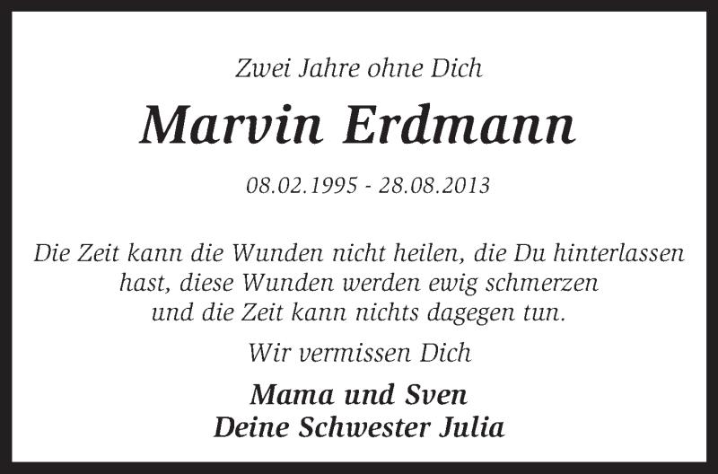Traueranzeige für Marvin Erdmann vom 28.08.2015 aus KRZ