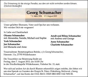 Traueranzeige von Georg Schumacher von KRZ
