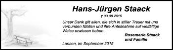 Traueranzeige von Hans-Jürgen Staack von KRZ