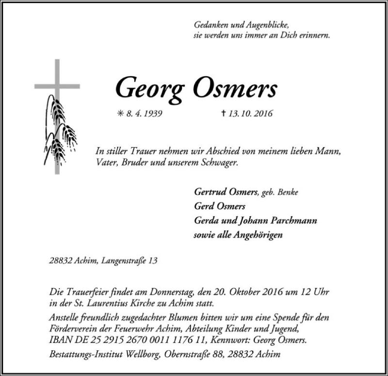 Traueranzeige für Georg Osmers vom 15.10.2016 aus SYK