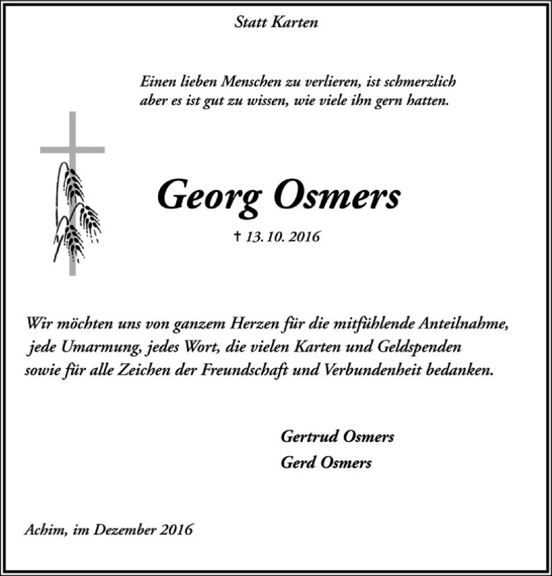 Traueranzeige für Georg Osmers vom 17.12.2016 aus SYK