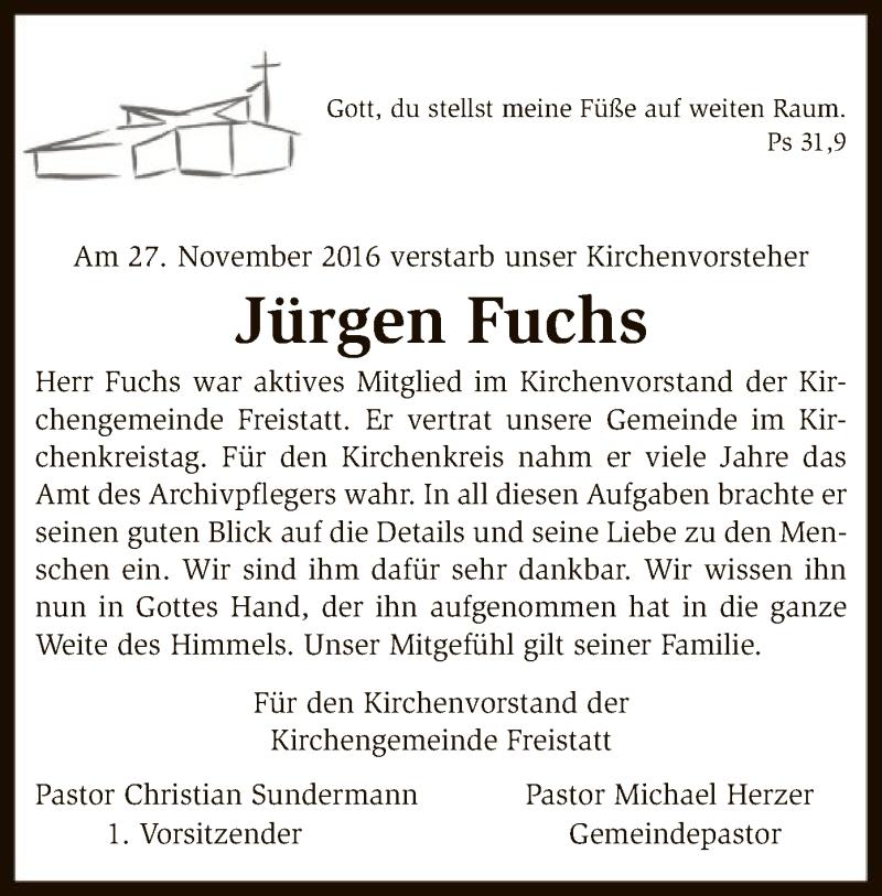Traueranzeige für Jürgen Fuchs vom 15.12.2016 aus SYK