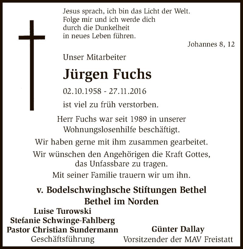 Traueranzeige für Jürgen Fuchs vom 14.12.2016 aus SYK