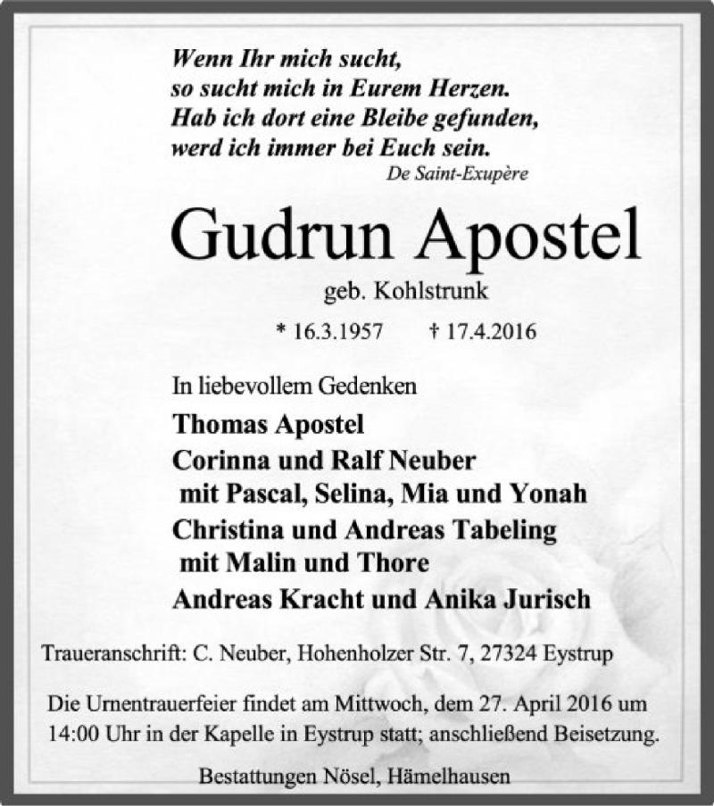 Anzeige von  Gudrun Apostel