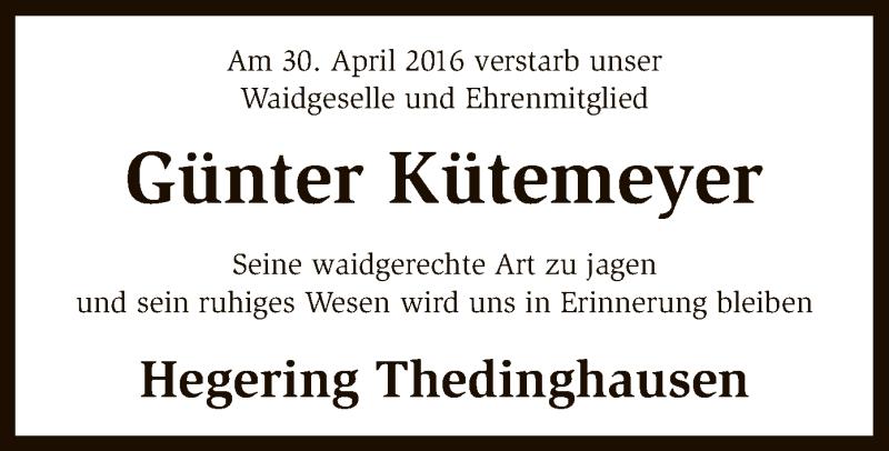 Traueranzeige für Günter Kütemeyer vom 04.05.2016 aus SYK