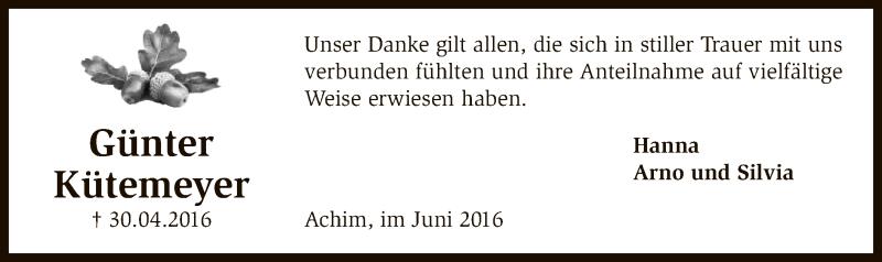 Traueranzeige für Günter Kütemeyer vom 11.06.2016 aus SYK