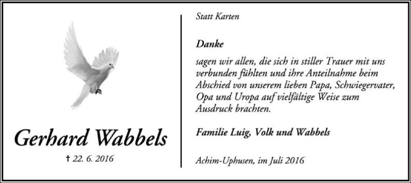 Traueranzeige für Gerhard Wabbels vom 09.07.2016 aus SYK