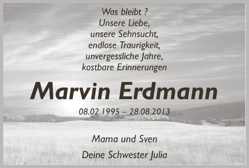 Traueranzeige für Marvin Erdmann vom 27.08.2016 aus SYK