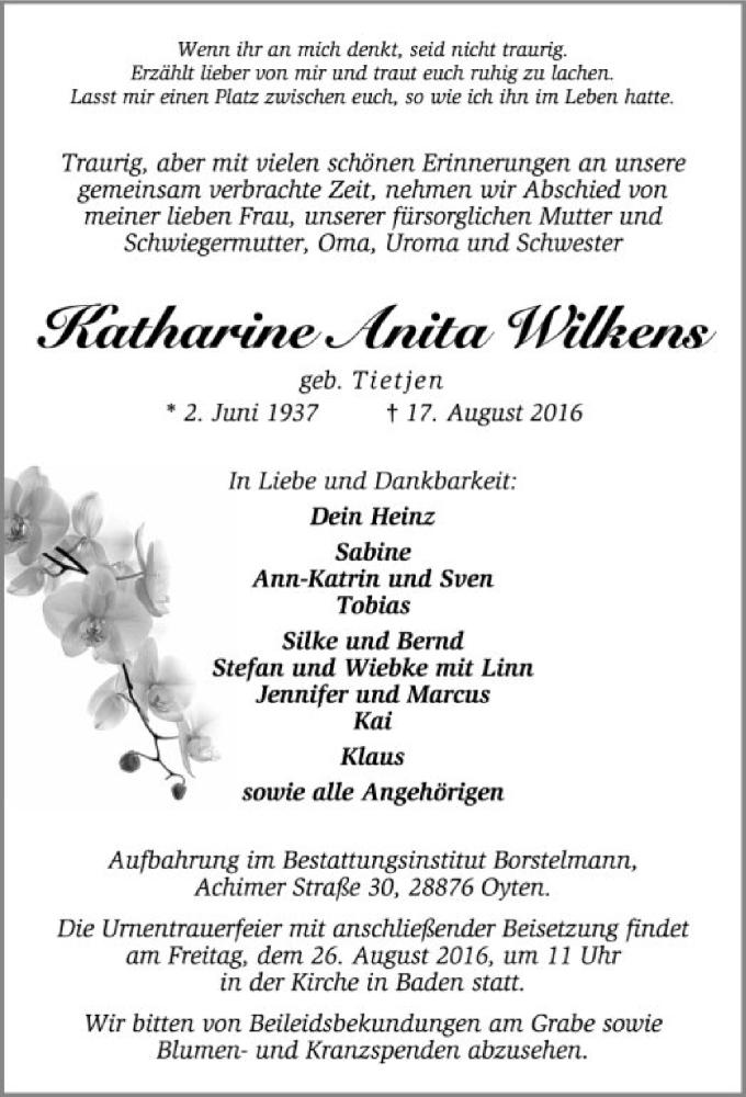 Traueranzeige für Katharine Anita Wilkens vom 20.08.2016 aus SYK
