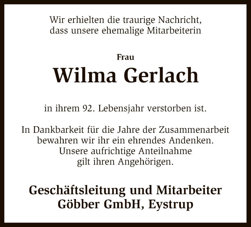Traueranzeige für Wilma Gerlach vom 10.08.2016 aus SYK