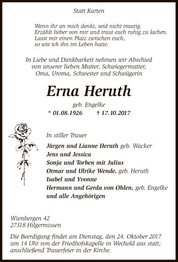 Traueranzeige von Erna Heruth von SYK