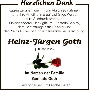 Traueranzeige für Heinz-Jürgen Goth vom 21.10.2017 aus SYK