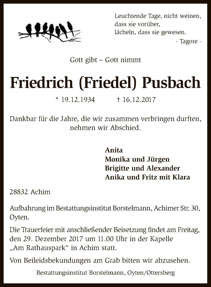 Traueranzeige für Friedrich  Pusbach vom 23.12.2017 aus SYK