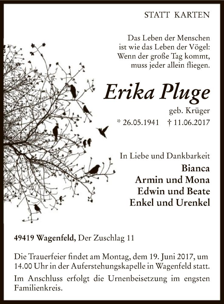 Traueranzeige für Erika Pluge vom 13.06.2017 aus SYK
