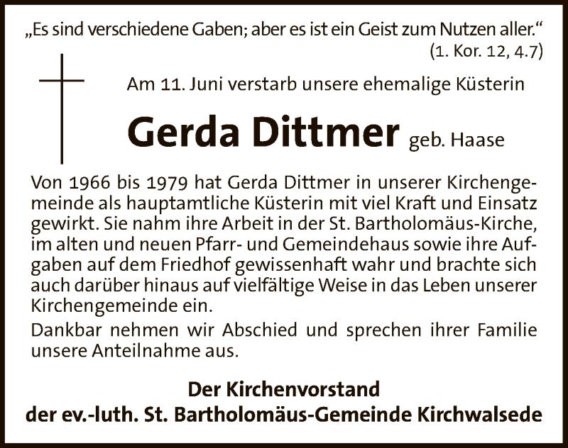 Traueranzeige für Gerda Dittmer vom 17.06.2017 aus SYK