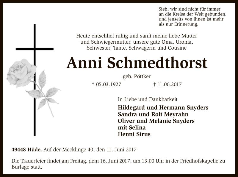 Traueranzeige für Anni Schmedthorst vom 13.06.2017 aus SYK