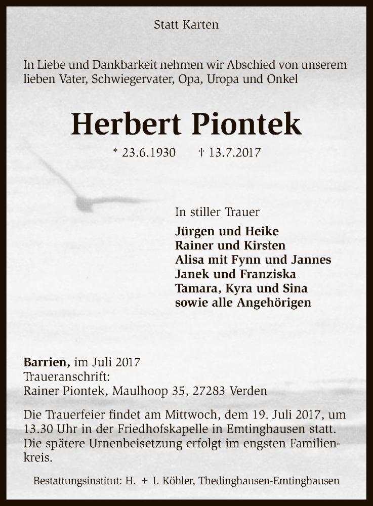 Traueranzeige für Herbert Piontek vom 15.07.2017 aus SYK