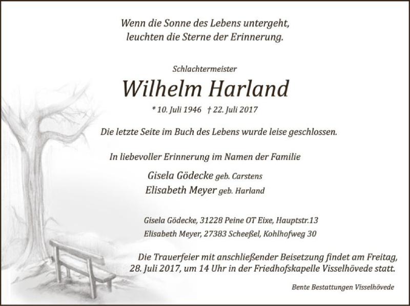 Traueranzeige für Wilhelm Harland vom 26.07.2017 aus SYK